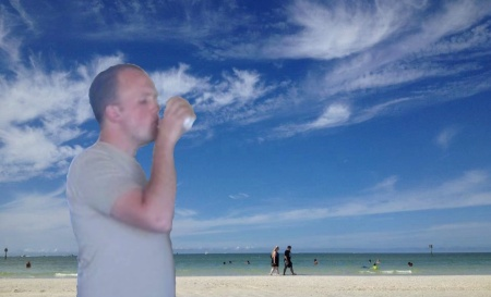 Above: A postcard of a typical Florida beach view, complete with the standard random drunk man in every frame.